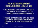 failed settlement discussions rule 408