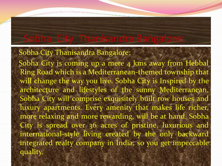 Sobha city thanisandra bangalore