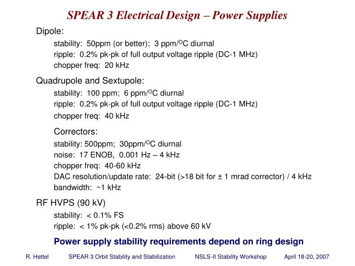 SPEAR 3 Electrical Design – Power Supplies