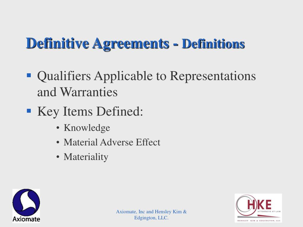 Definitive Agreements -