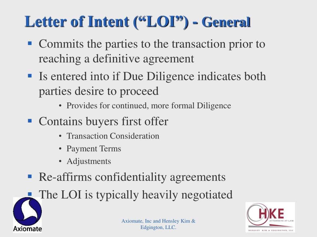 "Letter of Intent (""LOI"") -"