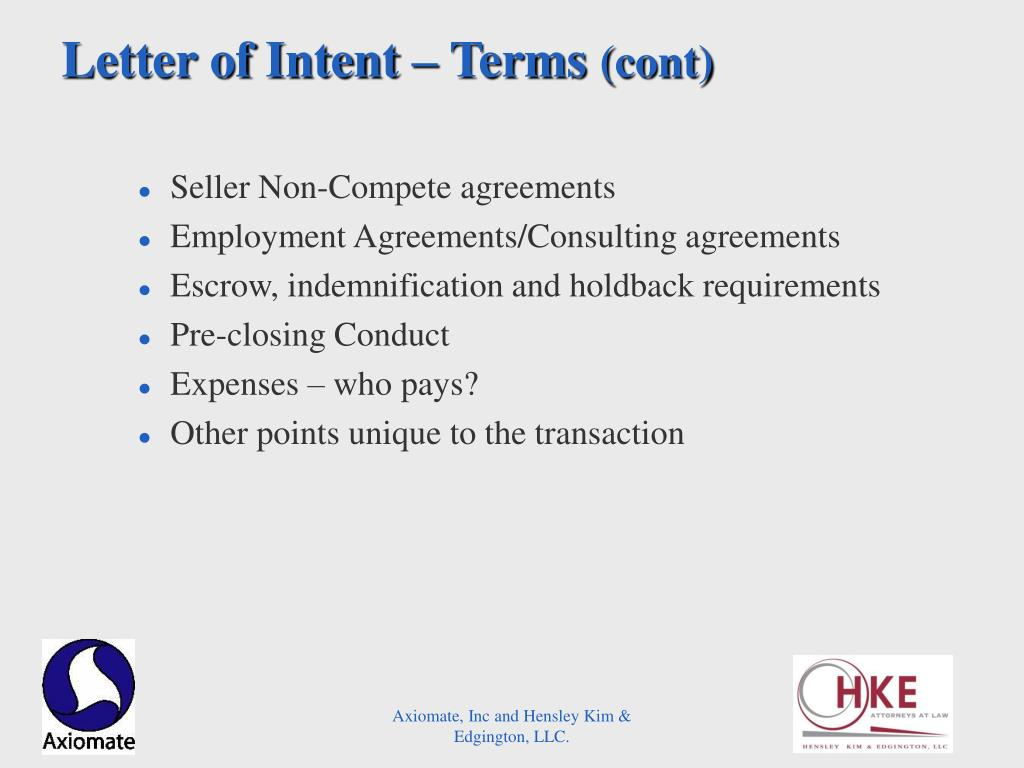 Letter of Intent – Terms