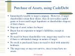 purchase of assets using cash debt10