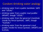 condom drinking water analogy