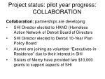 project status pilot year progress collaboration