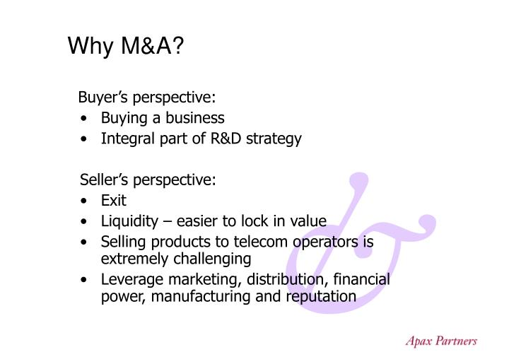 Why M&A?