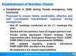 establishment of nutrition cluster
