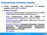 prepositioning of nutrition supplies