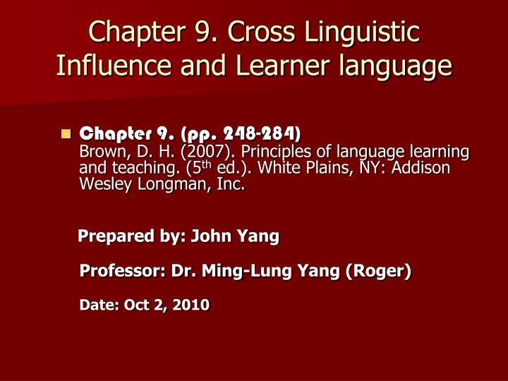 chapter 9 cross linguistic influence and learner language n.