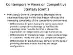 contemporary views on competitive strategy cont