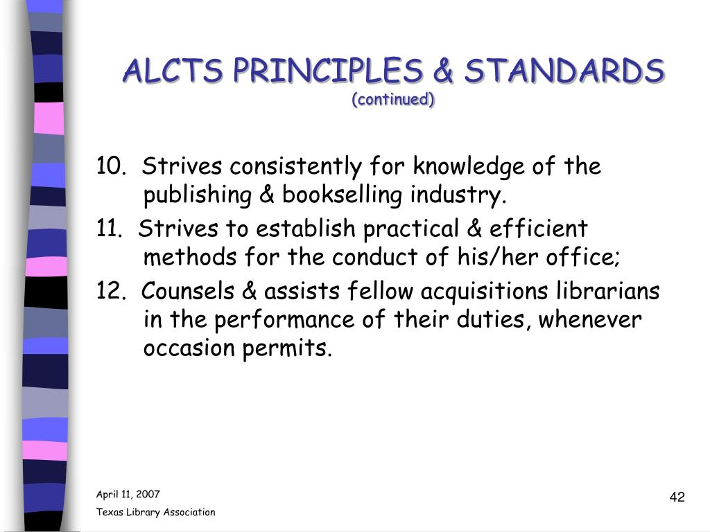 ALCTS PRINCIPLES & STANDARDS