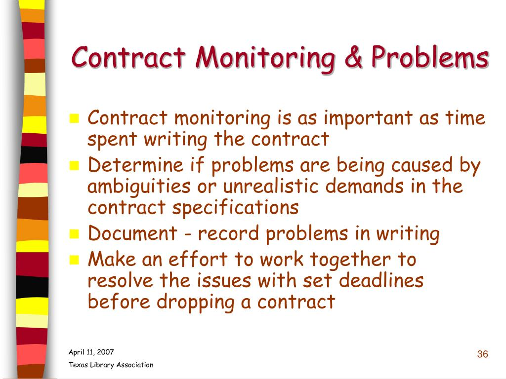 Contract Monitoring & Problems