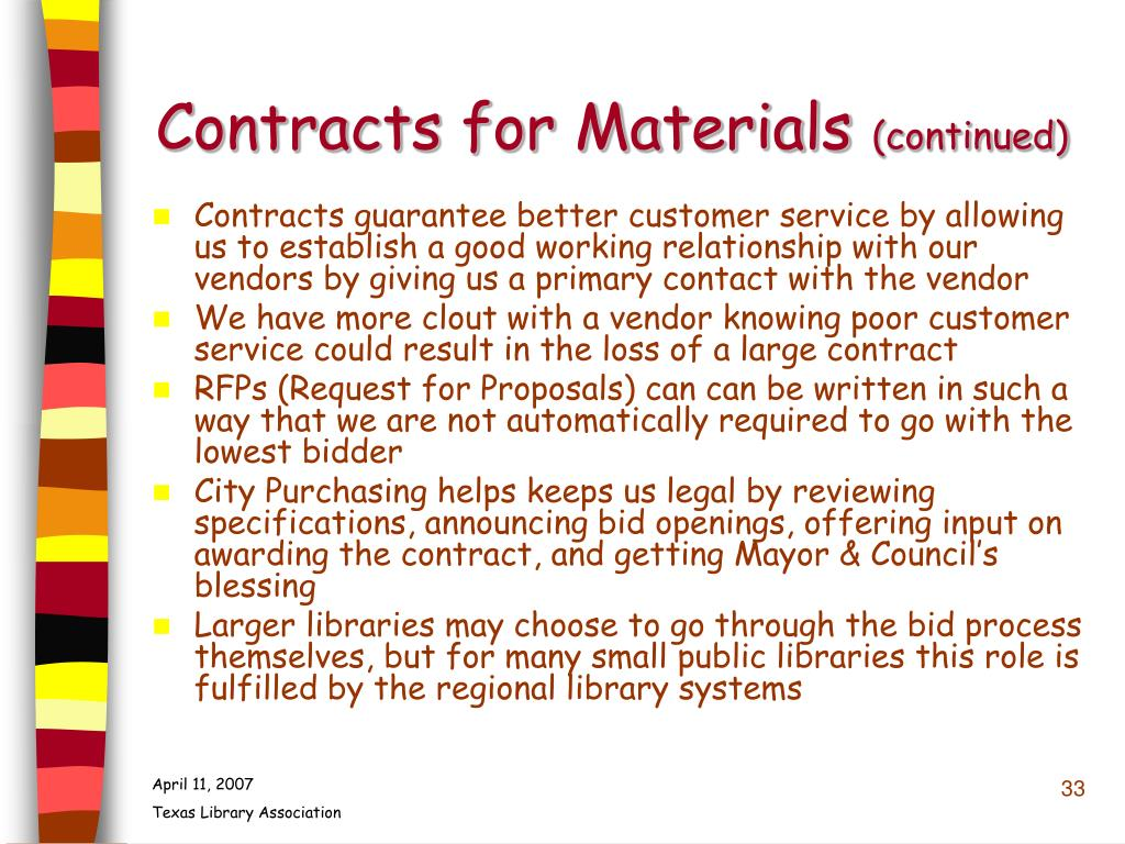 Contracts for Materials