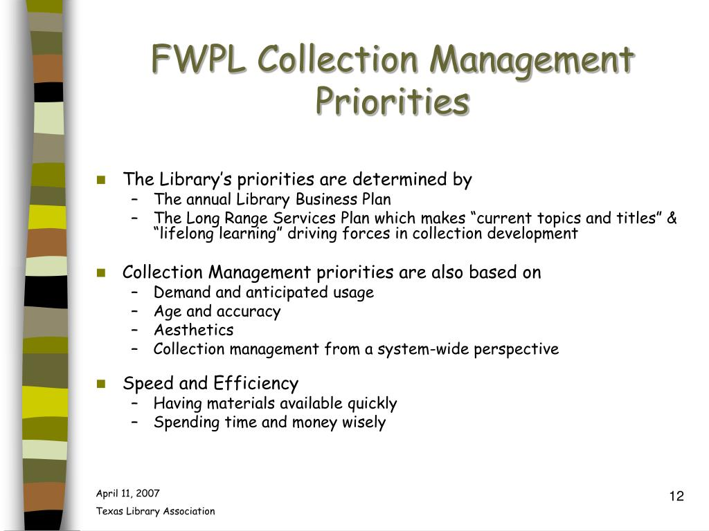 FWPL Collection Management