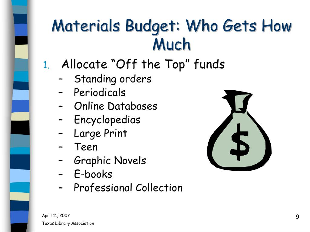 Materials Budget: Who Gets How Much