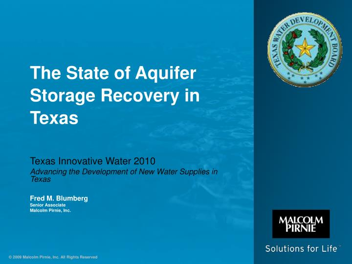 the state of aquifer storage recovery in texas n.