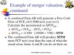 example of merger valuation continued