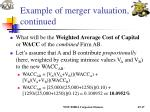 example of merger valuation continued17