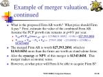 example of merger valuation continued18