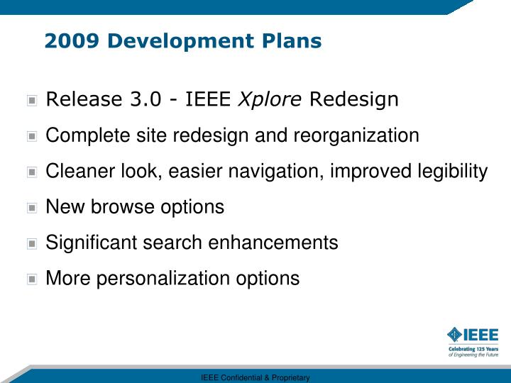 2009 Development Plans