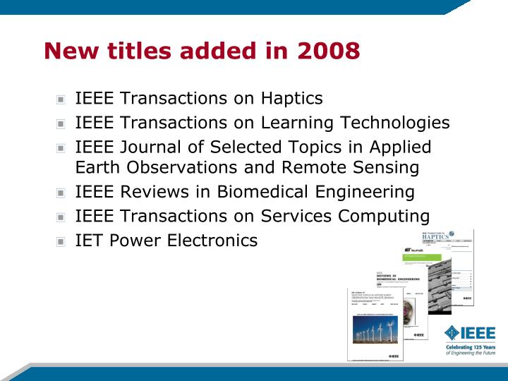 New titles added in 2008
