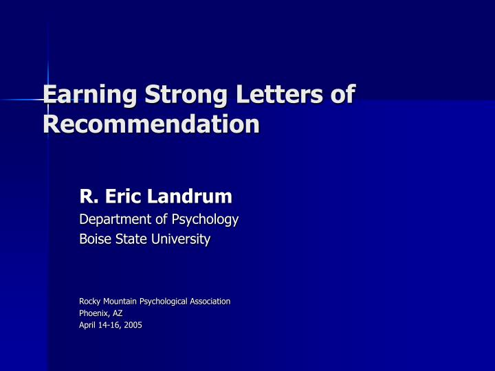 earning strong letters of recommendation n.