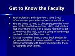 get to know the faculty