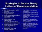 strategies to secure strong letters of recommendation