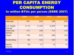 per capita energy consumption in million btus per person eere 2007