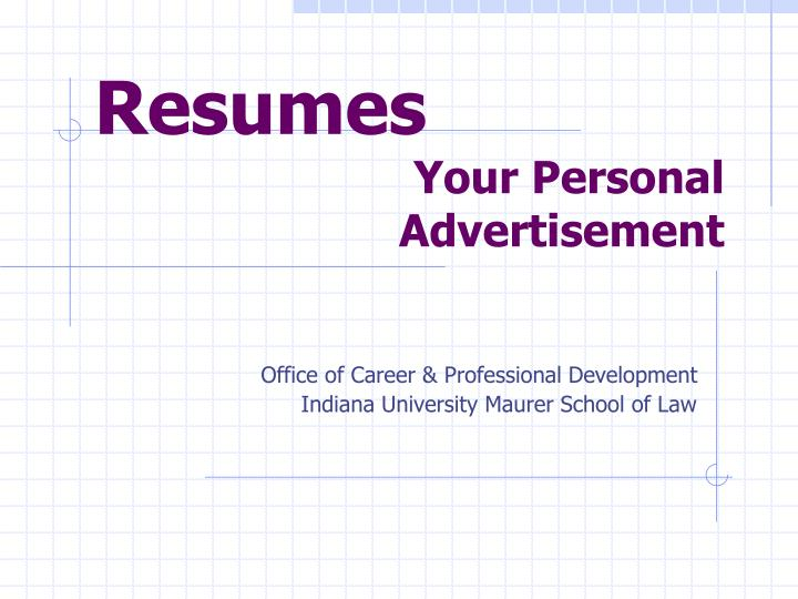 resumes your personal advertisement n.