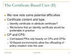 the certificate based user ii