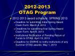 2012 2013 otag program2