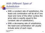 with different types of substitution
