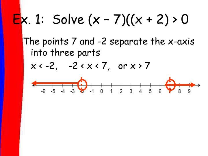 Ex. 1:  Solve (x – 7)((x + 2) > 0