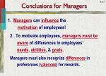 conclusions for managers