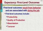 expectancy first level outcomes