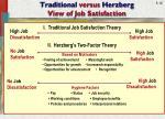 traditional versus herzberg view of job satisfaction