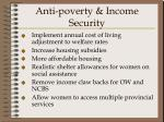 anti poverty income security
