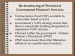 re structuring of provincial government women s services