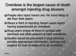 overdose is the largest cause of death amongst injecting drug abusers