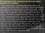 five rationales why eil instructors should include global education in the syllabus