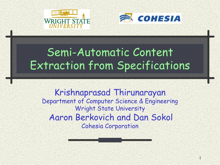semi automatic content extraction from specifications n.