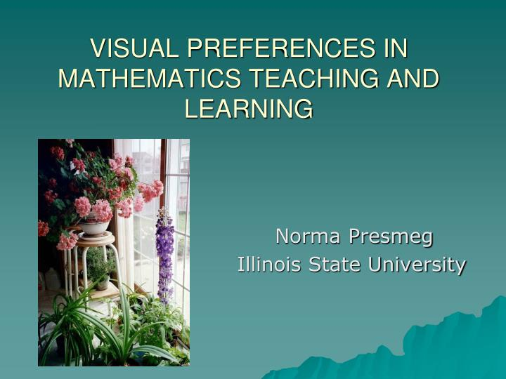 visual preferences in mathematics teaching and learning n.