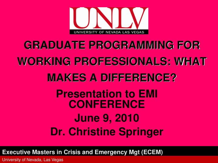 graduate programming for working professionals what makes a difference n.