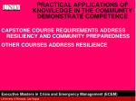 practical applications of knowledge in the community demonstrate competence