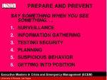 prepare and prevent