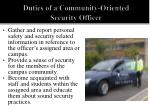 duties of a community oriented security officer