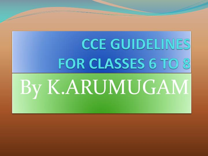 cce guidelines for classes 6 to 8 n.