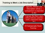 training to meet a job description