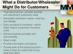 what a distributor wholesaler might do for customers